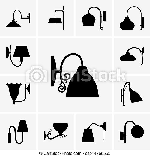 Set Of Wall Lamp Icons