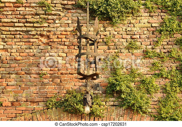 Wall lamp on old wall - csp17202631