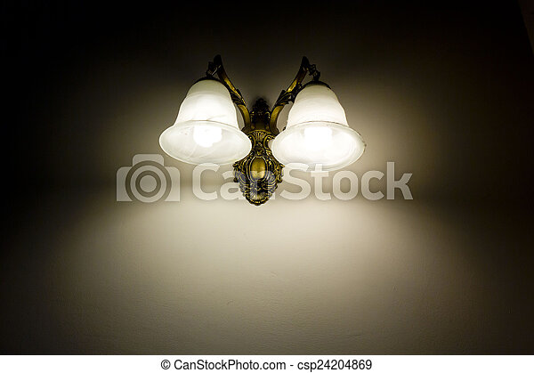 Wall lamp with a shade white background - csp24204869
