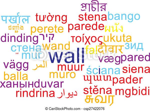 Wall multilanguage wordcloud background concept - csp27422076
