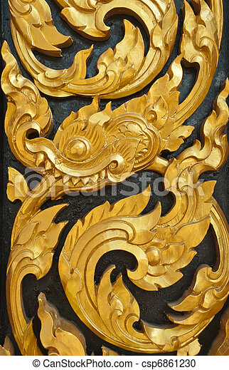 Wall of art image in thai style wood carving stock photography ...