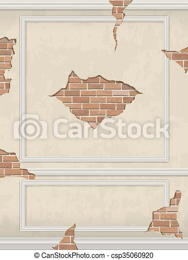 Wall of classic interior with moldings and brick cracks - csp35060920