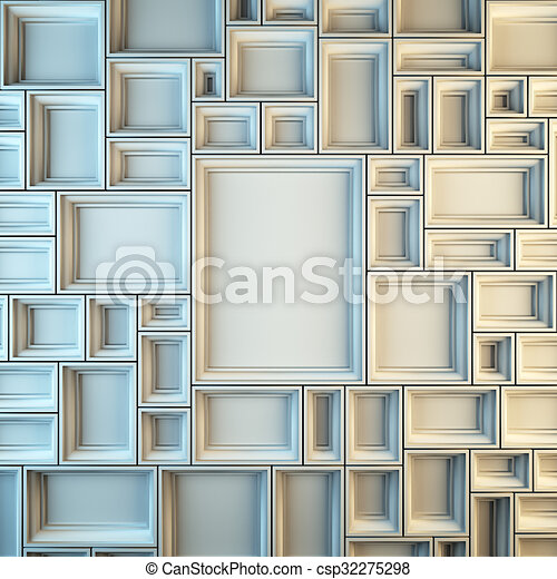 Wall of empty white frames. A 3d render illustration blank template ...