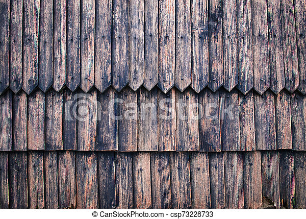 wall of old wooden shingles - csp73228733