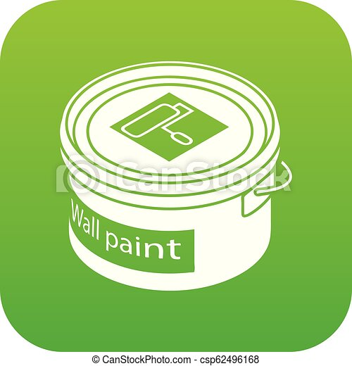 ada417e5b61d28 Wall paint bucket icon green vector isolated on white background.