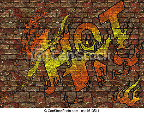 Wall Painted With Graffiti