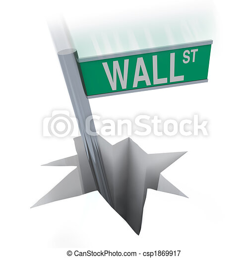 Wall Street Bear Market - Sign Falling in Hole - csp1869917