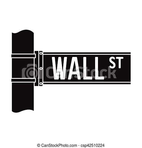 wall street sign icon in black style isolated on white background