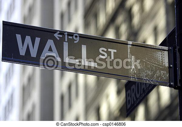 Wall street sign - csp0146806