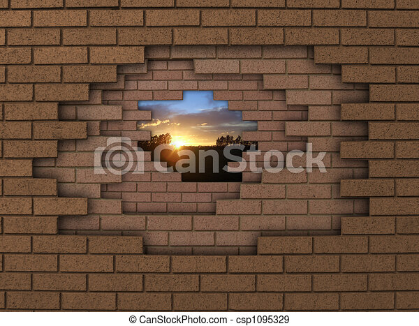 wall sunset breaking down walls