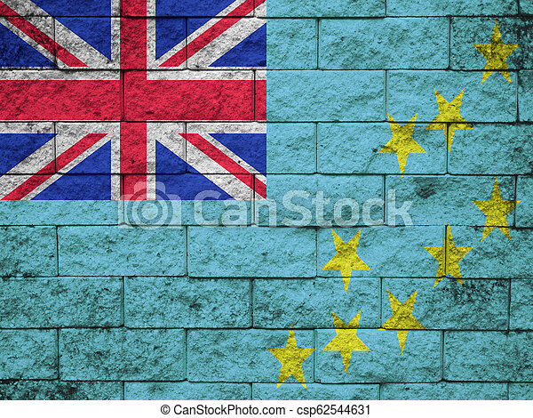 wall with painted flag of Tuvalu - csp62544631