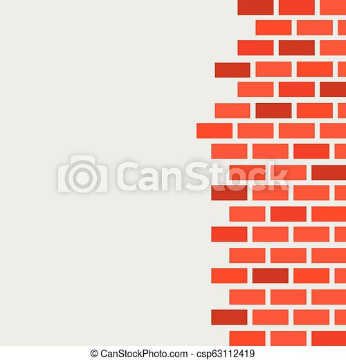 Wall with red brickwork. Free space for text - csp63112419