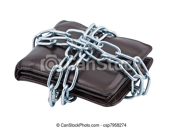 Wallet in chains isolated on white background. - csp7958274