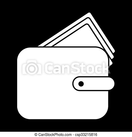 143e7a7ab4 Wallet vector illustration. white on the black.
