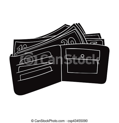 wallet with cash icon in black style isolated on white background supermarket symbol stock vector illustration wallet with https www canstockphoto com wallet with cash icon in black style 43455090 html