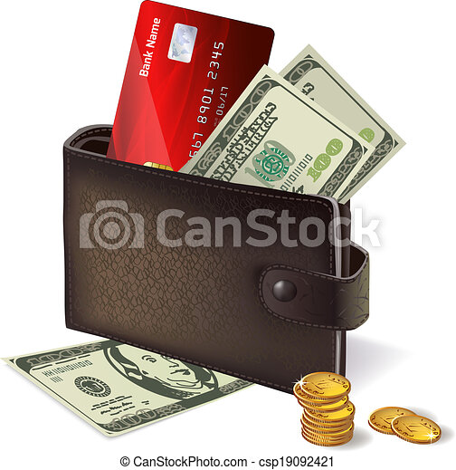 Wallet with credit card banknotes and coins - csp19092421