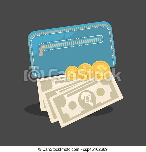 Wallets with money shopping. Purse  cash. - csp45162669