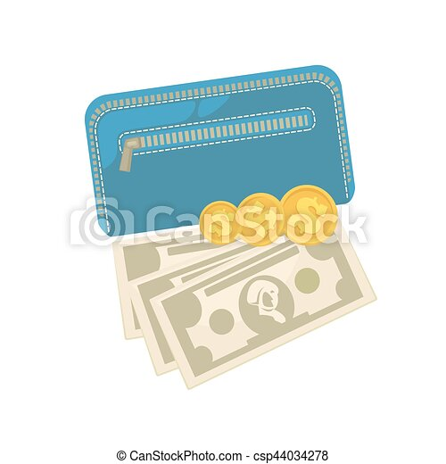 Wallets with money shopping. Purse  cash. - csp44034278