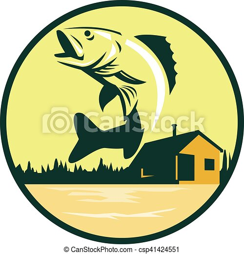 walleye fish lake lodge cabin circle retro illustration of rh canstockphoto com Walleye Silhouette Bass Fish Clip Art