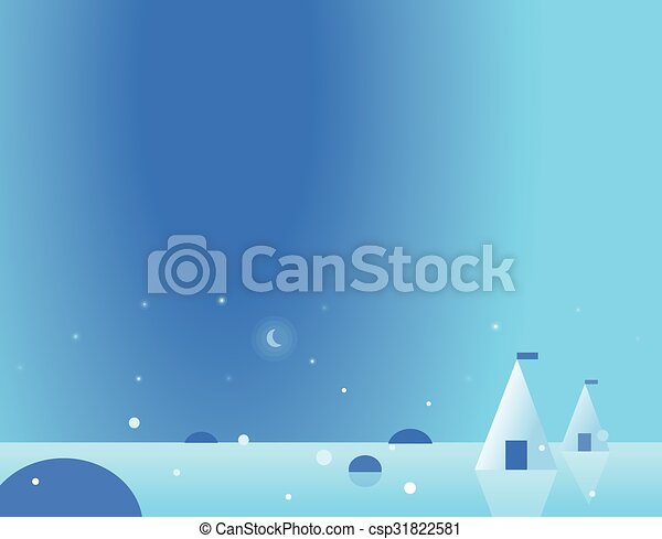 Wallpaper Arctic Landscape with Yurt and Moon, Vector Illustration - csp31822581