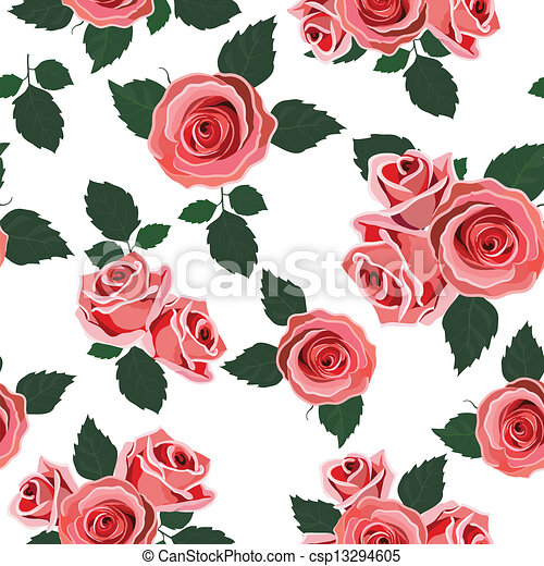 Wallpaper Retro Pattern Rose