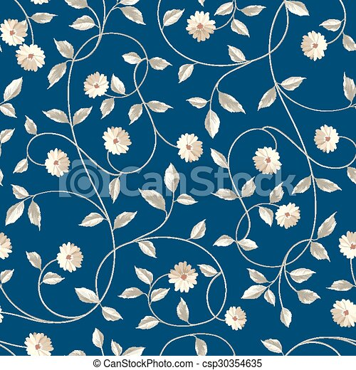 Wallpaper Texture Seamless Floral Background Shabby Chic Style Patterns With Blooming Chicory Over Blue Vector Illustration