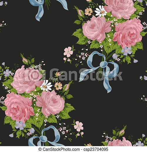 Wallpaper Vintage Rose Pattern On Black Background