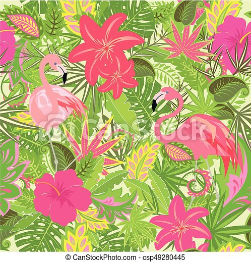 Wallpaper with exotic flowers tropical leaves and flamingo eps wallpaper with exotic flowers tropical leaves and flamingo for fabric textile wrapping paper mightylinksfo
