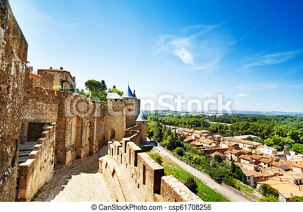 Walls in the west side of Carcassonne citadel - csp61708256