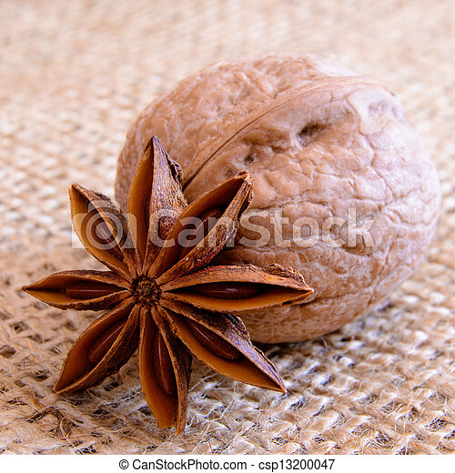 Walnuts and Star Anise on Burlap Background - csp13200047