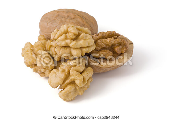 Walnuts close up isolated on white background. Image content a clipping path for desiners - csp2948244