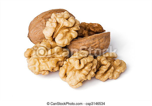 Walnuts close up isolated on white background - csp3146534