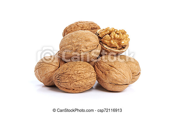 Walnuts isolated on a white background - csp72116913