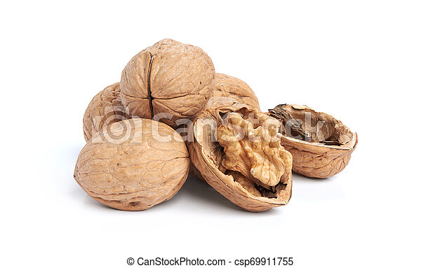 Walnuts isolated on a white background - csp69911755