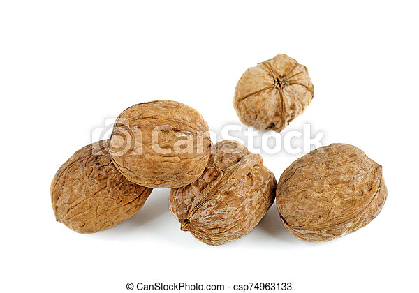Walnuts isolated on white background. - csp74963133