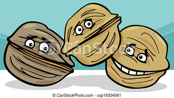 walnuts nuts cartoon illustration - csp16304061