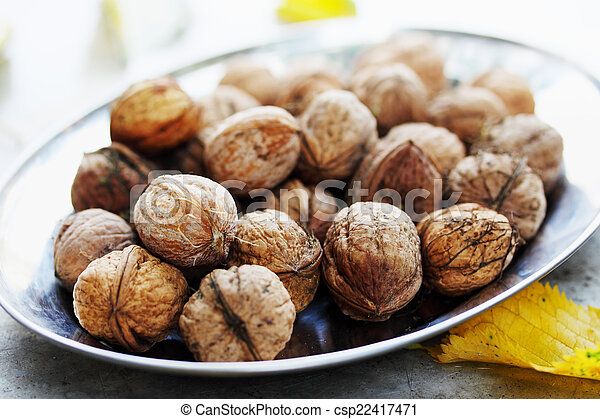 walnuts on a plate - csp22417471