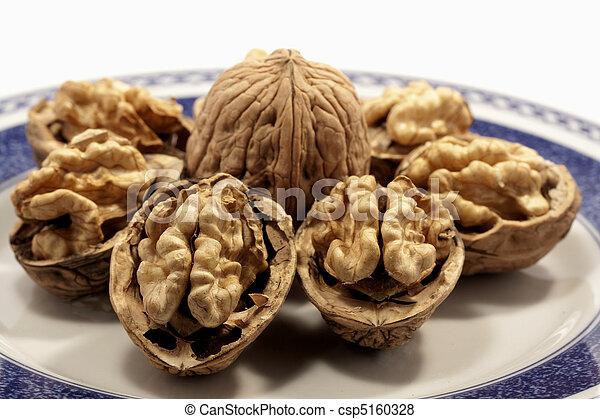 walnuts on a plate - csp5160328