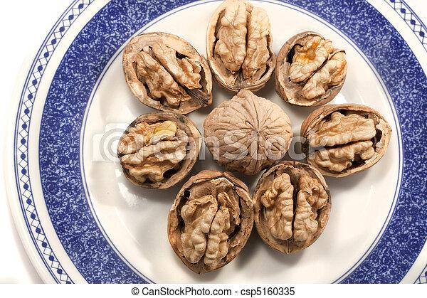 walnuts on a plate - csp5160335