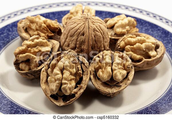 walnuts on a plate - csp5160332