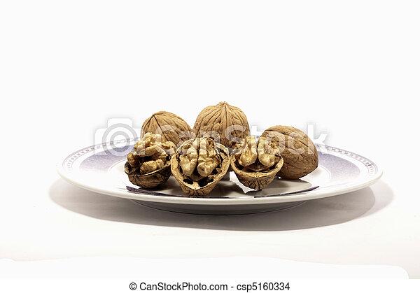 walnuts on a plate - csp5160334