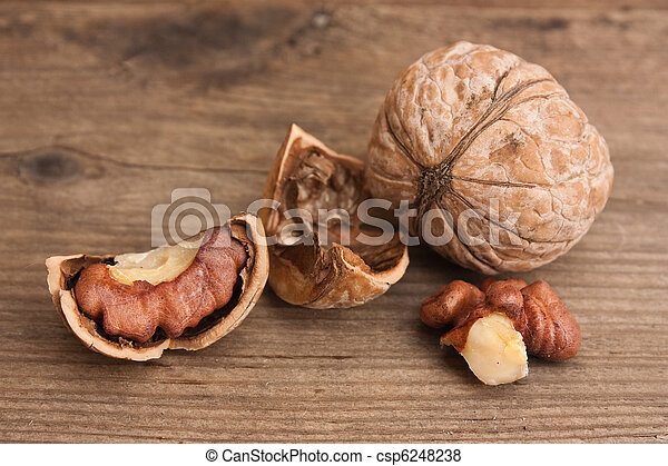 walnuts on old wooden table - csp6248238