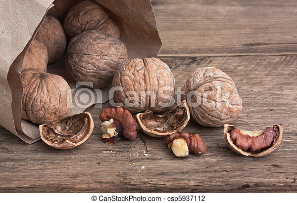 walnuts on old wooden table - csp5937112