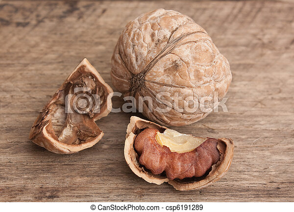 walnuts on old wooden table - csp6191289