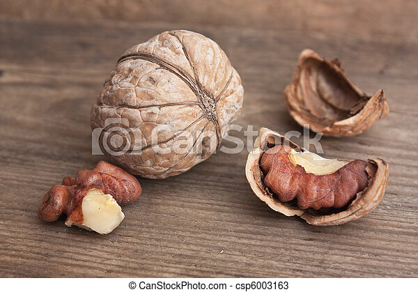 walnuts on old wooden table - csp6003163