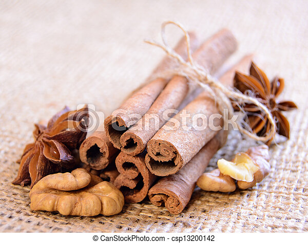 Walnuts, Star Anise and Cinnamon on the Burlap Background - csp13200142