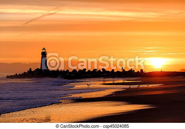 (walton, fény, hullámtörő gát, cruz, szent, lighthouse), napkelte - csp45024085