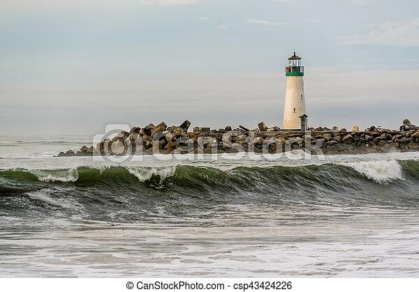 (walton, fény, hullámtörő gát, cruz, szent, lighthouse) - csp43424226