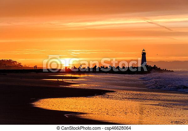 (walton, fény, hullámtörő gát, cruz, szent, lighthouse), napkelte - csp46628064