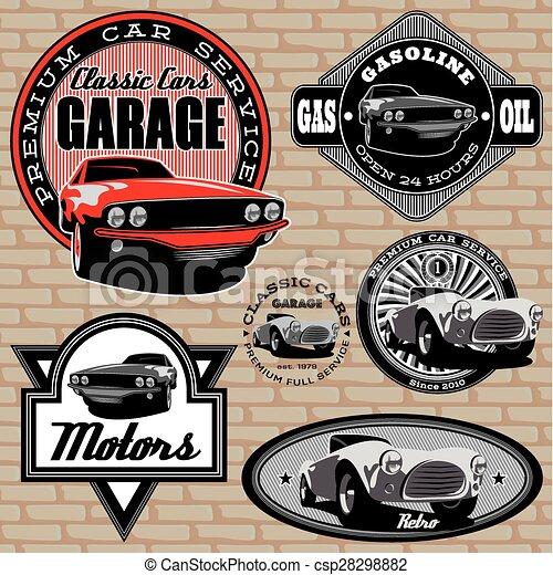 wand, auto, embleme, satz, retro - csp28298882